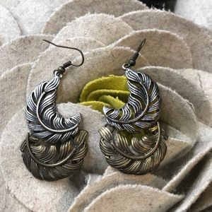 Jewelry - Feather Bronze & Silver Earrings